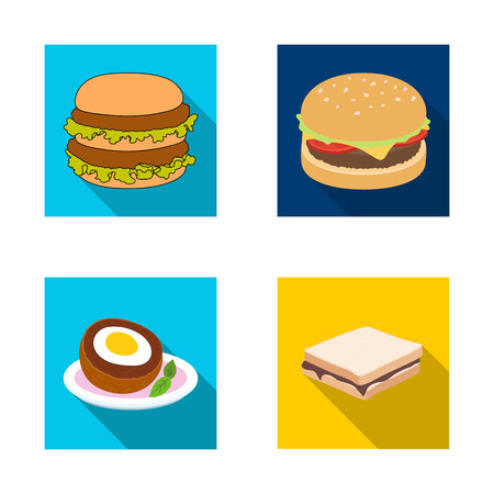 Vector design of sandwich and wrap logo. Collection of sandwich and lunch stock vector illustration.