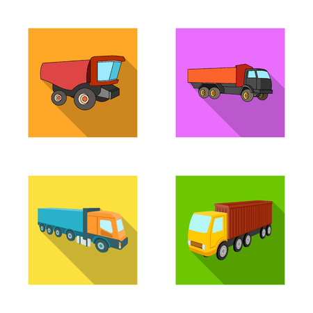 Isolated object of truck and shipping sign. Set of truck and container stock vector illustration.