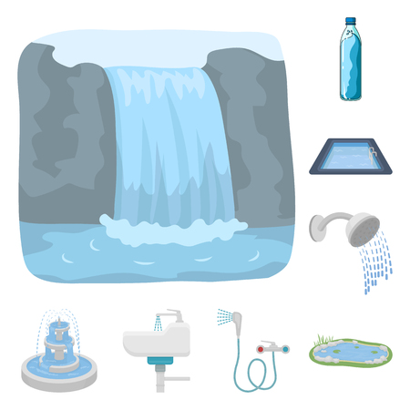 Vector design of water and drop sign. Set of water and splash vector icon for stock. Ilustración de vector