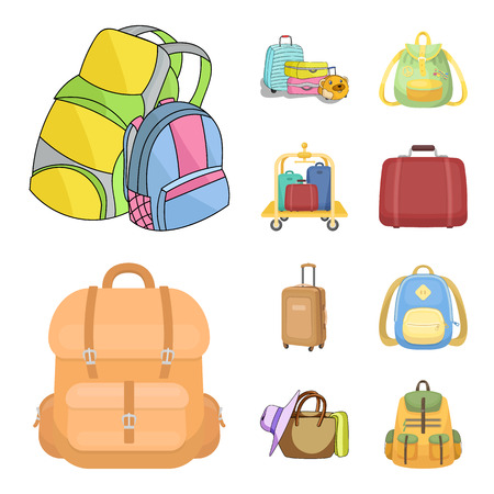 Vector illustration of  and backpack symbol. Collection of  and pack stock vector illustration.
