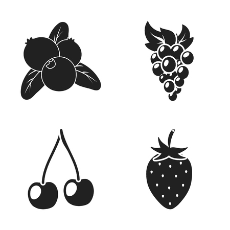 Isolated object of berry and fruit logo. Set of berry and redberry  stock vector illustration.
