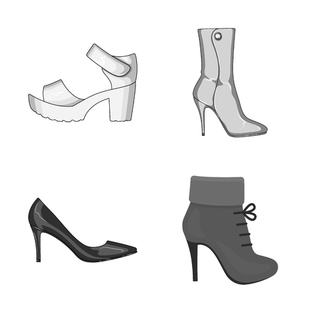 Vector design of heel and high sign. Collection of heel and stiletto stock symbol for web.