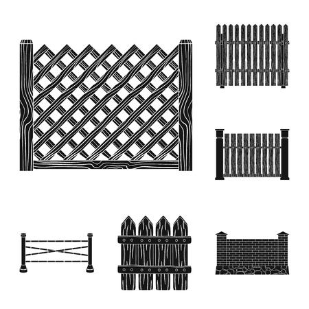 Conception vectorielle du logo de la porte et de la clôture. Collection de porte et mur symbole boursier pour le web. Logo