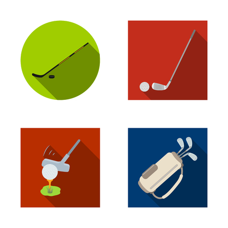 Isolated object of stick and field logo. Set of stick and club vector icon for stock.