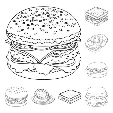 Illustration vectorielle du logo sandwich et wrap. Ensemble d'icône de vecteur de sandwich et de déjeuner pour le stock.