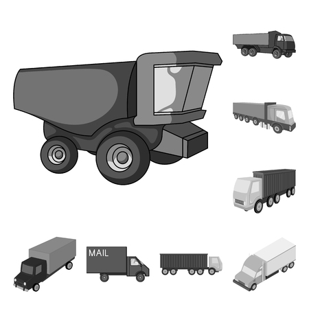 Vector illustration of truck and shipping icon. Collection of truck and container vector icon for stock.
