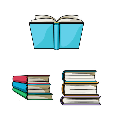 Isolated object of library and textbook symbol. Collection of library and school stock vector illustration.