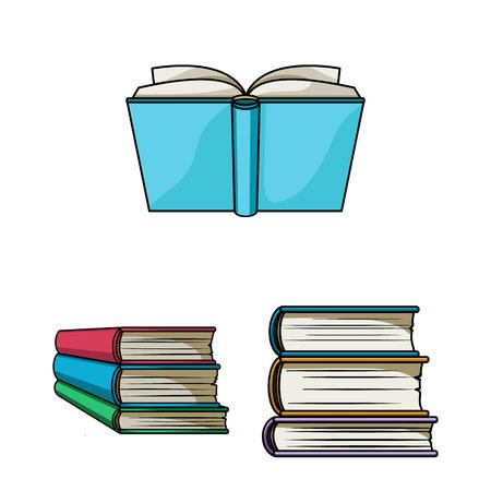 Oggetto isolato della libreria e del simbolo del libro di testo. Collezione di illustrazione vettoriale d'archivio biblioteca e scuola.