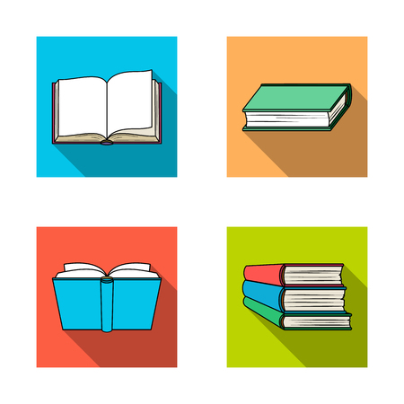 Vector design of library and textbook sign. Set of library and school stock vector illustration. Vektoros illusztráció