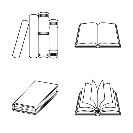 Isolated object of library and textbook symbol. Set of library and school stock symbol for web.