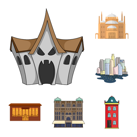 Isolated object of building and city symbol. Set of building and business stock vector illustration. Ilustracja