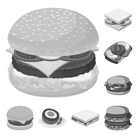 Isolated object of sandwich and wrap icon. Set of sandwich and lunch vector icon for stock. Çizim