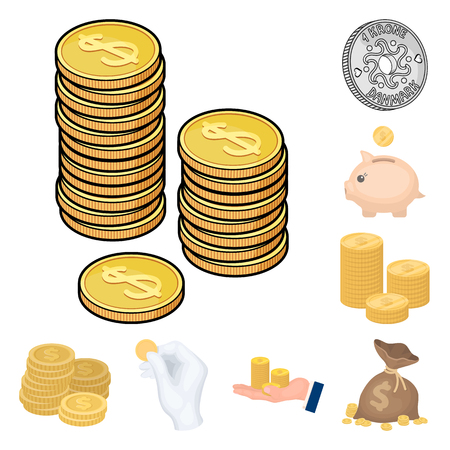 Vector design of coin and treasure sign. Set of coin and money  stock vector illustration.