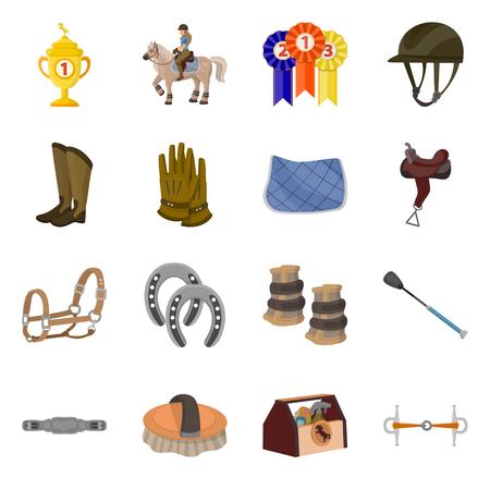 Vector illustration of horseback and equestrian sign. Collection of horseback and horse  vector icon for stock.