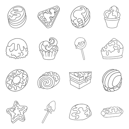 Isolated object of sweet and product icon. Collection of sweet and caramel vector icon for stock.