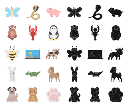 An unrealistic cartoon,black animal icons in set collection for design. Toy animals vector symbol stock illustration.