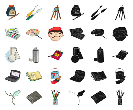 Painter and drawing cartoon,black icons in set collection for design. Artistic accessories vector symbol stock illustration.