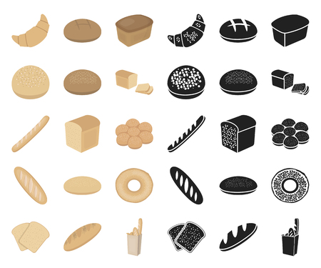 Types of bread cartoon,black icons in set collection for design. Bakery products vector symbol stock  illustration.