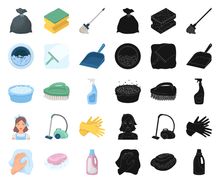 Cleaning and maid cartoon,black icons in set collection for design. Equipment for cleaning vector symbol stock illustration.