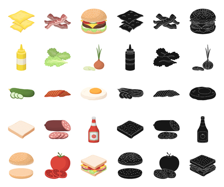 Burger and ingredients cartoon,black icons in set collection for design. Burger cooking vector symbol stock  illustration. Vettoriali
