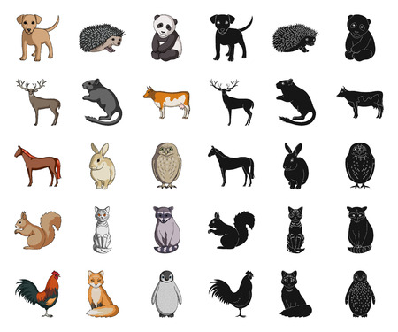 Realistic animals cartoon,black icons in set collection for design. Wild and domestic animals vector symbol stock  illustration. 向量圖像