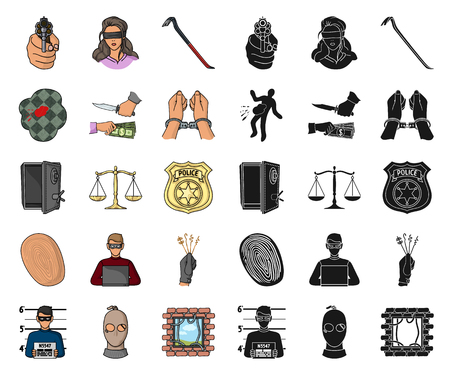 Crime and Punishment cartoon,black icons in set collection for design.Criminal vector symbol stock illustration.