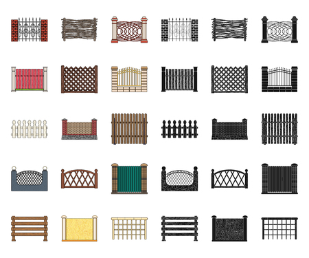 Different fence cartoon,black icons in set collection for design.Decorative fencing vector symbol stock  illustration.