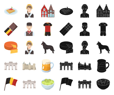 Country Belgium cartoon,black icons in set collection for design.Travel and attractions Belgium vector symbol stock  illustration. Illusztráció