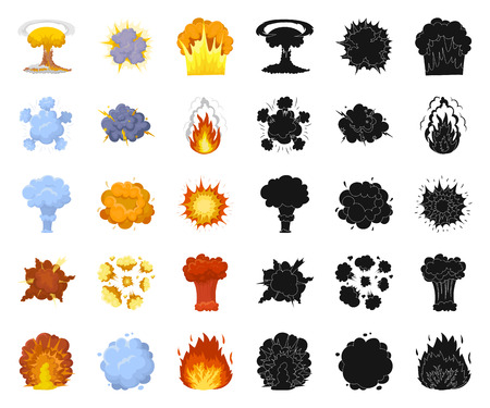 Different explosions cartoon,black icons in set collection for design.Flash and flame vector symbol stock  illustration.