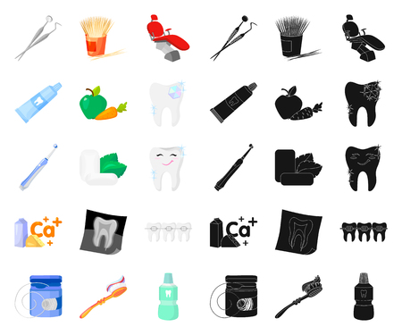 Dental care cartoon,black icons in set collection for design. Care of teeth vector symbol stock illustration.