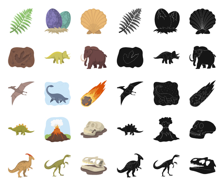 Different dinosaurs cartoon,black icons in set collection for design. Prehistoric animal vector symbol stock  illustration.