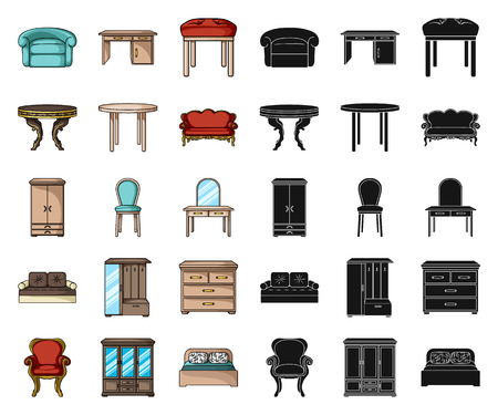Furniture and interior cartoon,black icons in set collection for design.Home furniture vector symbol stock  illustration. Illustration