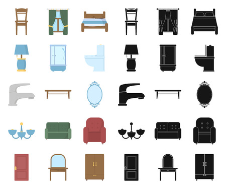 Furniture and interior cartoon,black icons in set collection for design.Home furniture vector symbol stock illustration. Vektorgrafik