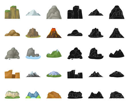Different mountains cartoon,black icons in set collection for design.Mountains and landscape vector symbol stock web illustration.