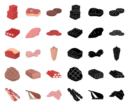 Different meat cartoon,black icons in set collection for design. Meat product vector symbol stock web illustration.