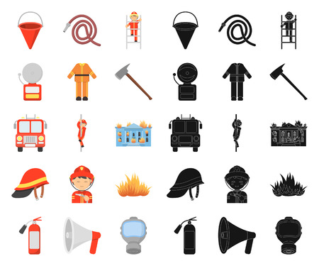 Fire Department cartoon,black icons in set collection for design. Firefighters and equipment vector symbol stock web illustration. Иллюстрация