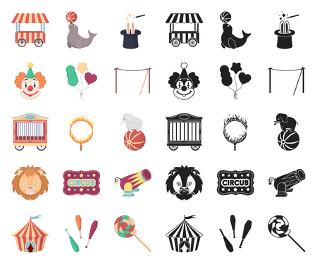 Circus and attributes cartoon,black icons in set collection for design. Circus Art vector symbol stock web illustration.