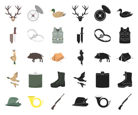 Hunting and trophy cartoon,black icons in set collection for design. Hunting and equipment vector symbol stock web illustration. Çizim