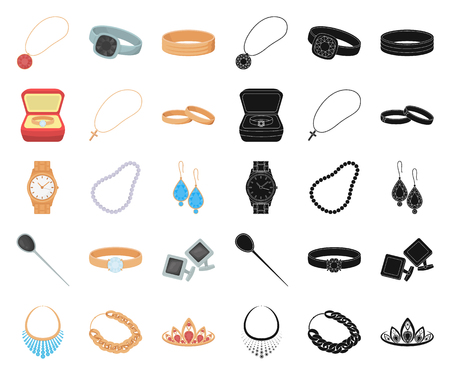 Jewelry and accessories cartoon,black icons in set collection for design.Decoration vector symbol stock web illustration.
