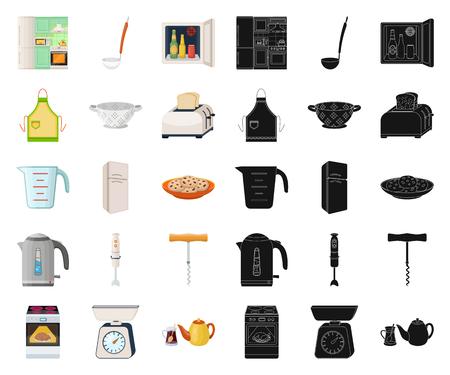 Kitchen equipment cartoon,black icons in set collection for design. Kitchen and accessories vector symbol stock web illustration. Ilustração Vetorial
