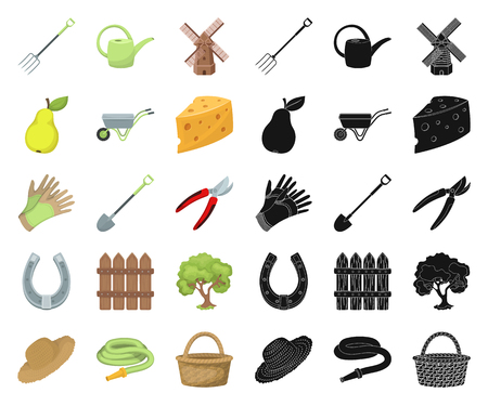Farm and gardening cartoon,black icons in set collection for design. Farm and equipment vector symbol stock web illustration.
