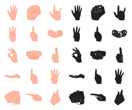 Hand gesture cartoon,black icons in set collection for design. Palm and finger vector symbol stock web illustration. Illustration