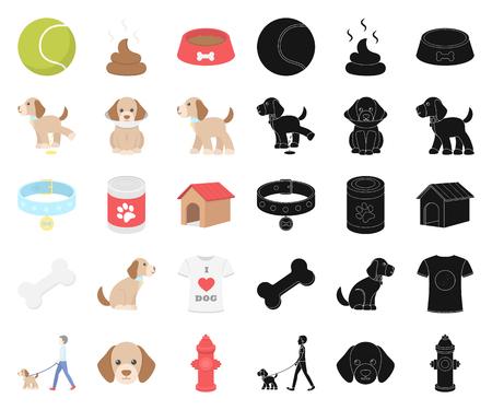 Pet dog cartoon,black icons in set collection for design. Caring for the puppy vector symbol stock web illustration. Ilustração