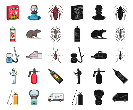 Pest, poison, personnel and equipment cartoon,black icons in set collection for design. Pest control service vector symbol stock web illustration. Ilustración de vector