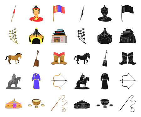 Country Mongolia cartoon,black icons in set collection for design.Territory and landmark vector symbol stock web illustration. Illustration