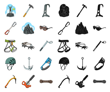 Mountaineering and climbing cartoon,black icons in set collection for design. Equipment and accessories vector symbol stock web illustration.