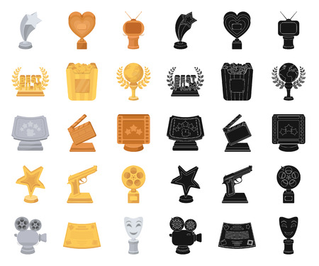 Film awards and prizes cartoon,black icons in set collection for design. The World Film Academy vector symbol stock web illustration. Stock Illustratie