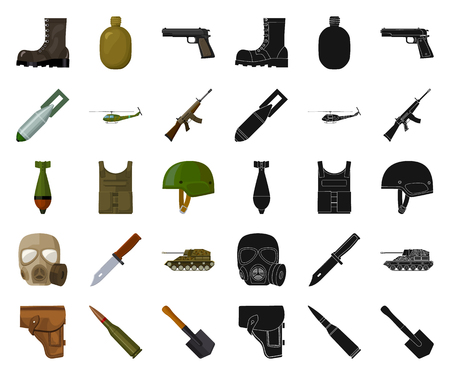 Army and armament cartoon,black icons in set collection for design. Weapons and equipment vector symbol stock web illustration.
