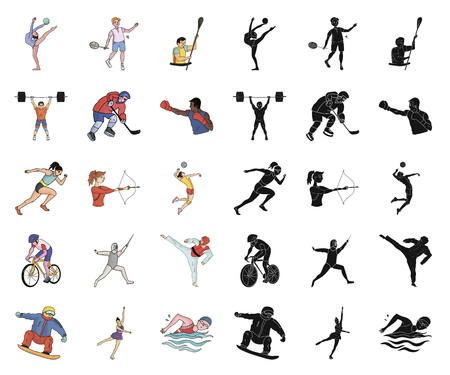Different kinds of sports cartoon,black icons in set collection for design. Athlete, competitions vector symbol stock web illustration. Illustration
