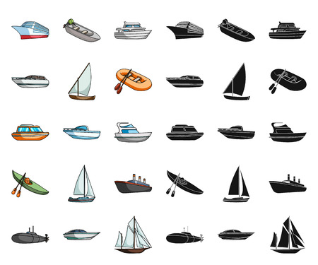 Water and sea transport cartoon,black icons in set collection for design. A variety of boats and ships vector symbol stock web illustration.